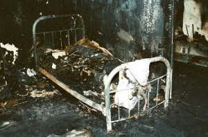 The bed of Todd Willingham's older daughter after the fire.