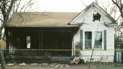 The front of Todd Willingham's house after it burned