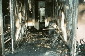 The hall of Todd Willingham's house after the fire.